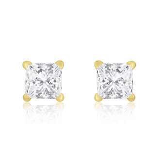 1/2ct Princess Diamond Stud Earrings In 14k Yellow Gold, I-J, SI