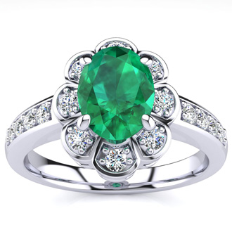 Luminous 1 1/10ct Emerald and Diamond Ring in 14K White Gold