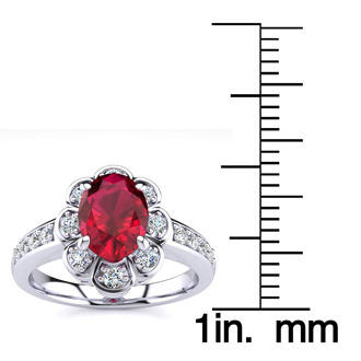 Luminous 1 1/3ct Ruby and Diamond Ring in 14K White Gold