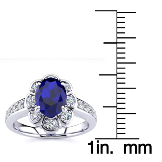Luminous 1 1/4ct Sapphire Diamond Ring in 14K White Gold