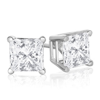 1 1/4ct Fine Quality Princess Diamond Stud Earrings In 14k White Gold