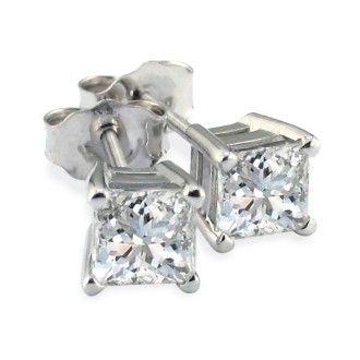1 1/2ct Princess Diamond Stud Earrings, 14k White Gold, I-J, SI