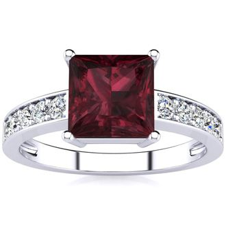 Square Step Cut 1 2/3ct Garnet and Diamond Ring in 14K White Gold
