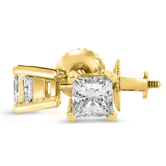 1 1/2ct Fine Princess Diamond Stud Earrings In 14k Yellow Gold