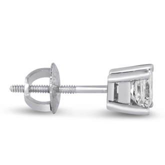 2ct Princess Cut Diamond Stud Earrings, 14k White Gold, I-J, SI