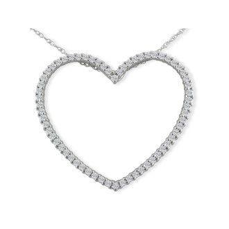 1ct Heart Shaped Diamond Pendant in 14k White Gold