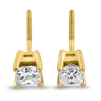 2ct Fine Quality Princess Diamond Stud Earrings In 14k Yellow Gold