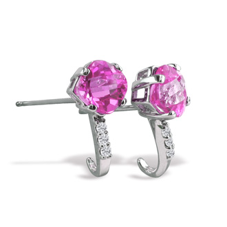 2ct Cushion Cut Pink Topaz and Diamond Earrings in 14k White Gold