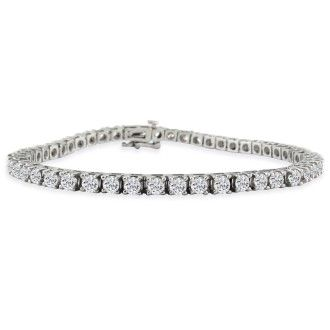 7 Inch 14K White Gold 5 Carat Diamond Tennis Bracelet