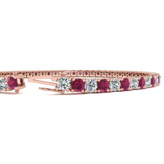 4 Carat Ruby And Diamond Tennis Bracelet In 14 Karat Rose Gold, 6 Inches