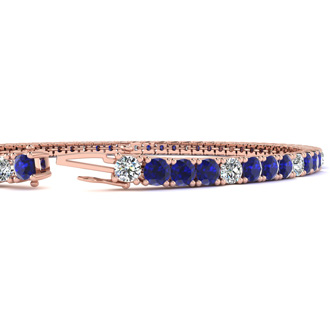 7 Inch 5 Carat Sapphire And Diamond Alternating Tennis Bracelet In 14K Rose Gold