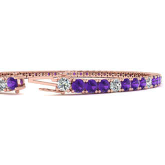 3 1/2 Carat Amethyst And Diamond Alternating Tennis Bracelet In 14 Karat Rose Gold, 6 1/2 Inches