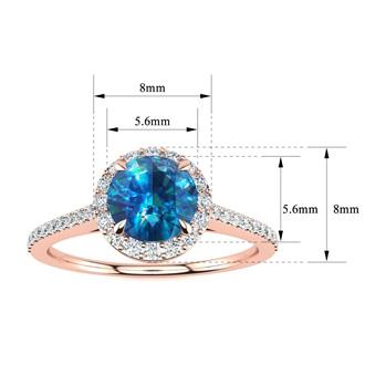 1 Carat Blue Diamond Halo Engagement Ring in 14k Rose Gold