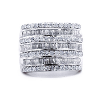 2 Carat Baguette and Round Diamond Band Ring In Sterling Silver. This Is A Wide, Amazing, Gorgeous Diamond Band Ring!
