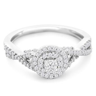 1/2 Carat Halo Diamond Engagement Ring in White Gold