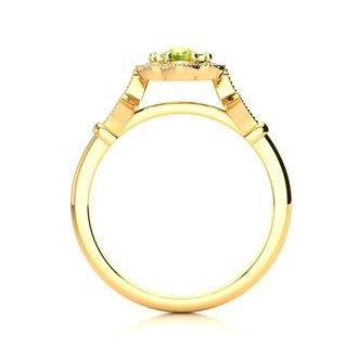 1 Carat Oval Shape Peridot and Halo Diamond Vintage Ring In 14 Karat Yellow Gold
