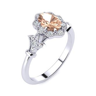 1 Carat Oval Shape Morganite and Halo Diamond Vintage Ring In 14 Karat White Gold