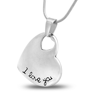 'I Love You' Heart Necklace With Letter Engraved