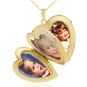 14K Yellow Gold Large Double Heart Locket With Free Custom Engraving, 18 Inches, Can Hold Up To Four Pictures!
