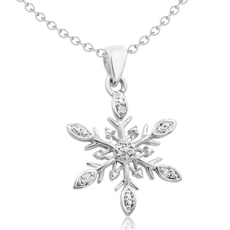 Diamond Accent Snowflake Necklace, 18 Inches.