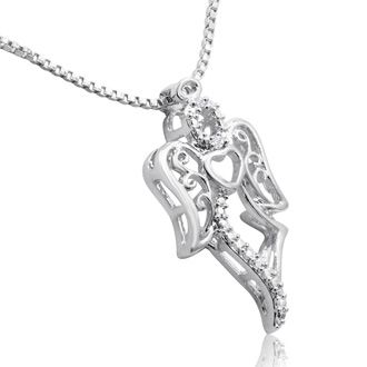Diamond Accent Angel Necklace, 18 Inches