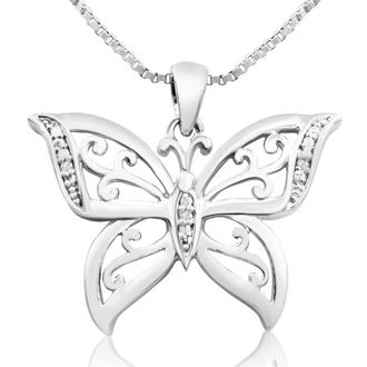 Platinum Overlay Diamond Accent Butterfly Necklace, 18 Inches.  Really Pretty, Don't Wait For Them To All Fly Away!