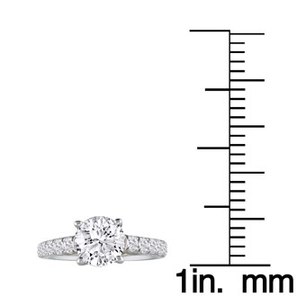 Hansa 3/4ct Diamond Round Engagement Ring in 18k White Gold, H-I, SI2-I1,Available Ring Sizes 4-9.5