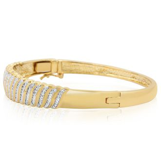 Diamond Accent Bangle Bracelet In Yellow Gold Overlay