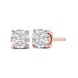 1 3ct Diamond Stud Earrings In 14k Rose Gold