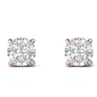 1/2ct Diamond Stud Earrings in 14k Rose Gold