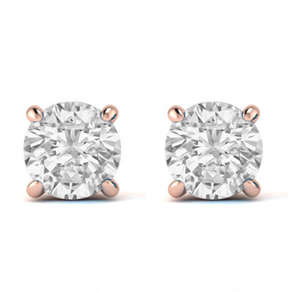 1ct Diamond Stud Earrings in 14k Rose Gold, H/I Color I1-I2 Clarity