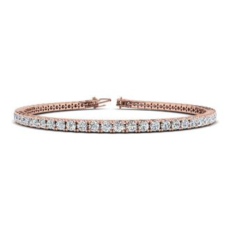 7 INCH 14K ROSE GOLD 3 CARAT DIAMOND TENNIS BRACELET