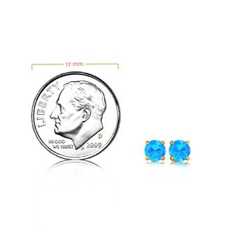 10bfba99363b 1 Carat Round Shape Blue Topaz Stud Earrings In 14K Yellow Gold Over  Sterling Silver