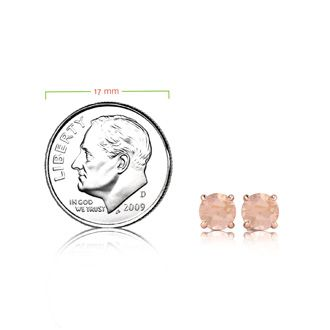 1 Carat Round Shape Morganite Stud Earrings In 14K Rose Gold Over Sterling Silver