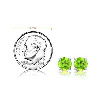 2 1/4 Carat Round Shape Peridot Stud Earrings In Sterling Silver