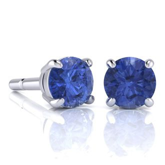 1 3 4 Carat Round Shape Tanzanite Stud Earrings In Sterling Silver