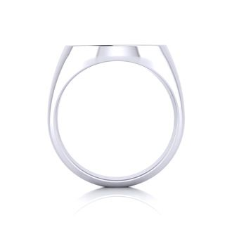 14K White Gold Mens Oval Signet Ring With Free Custom Engraving
