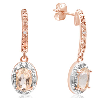 3/4ct Morganite and Diamond Oval Drop Earrings In 14K Rose Gold Over Sterling Silver