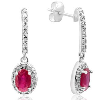 1 1/3ct Ruby and Diamond Oval Drop Earrings In Sterling Silver