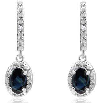 1 1/4ct Sapphire and Diamond Oval Drop Earrings In Sterling Silver