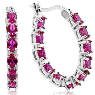 3 1/3ct Oval Ruby Inside-Out Hoop Earrings In Sterling Silver