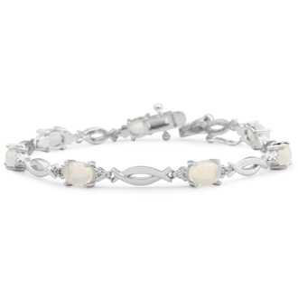 3 1/2 Carat Opal and Diamond Bracelet In Platinum Overlay, 7 Inches