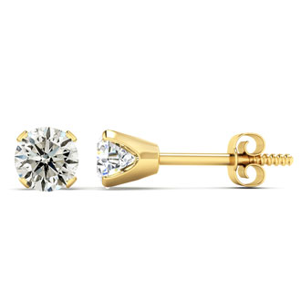 Nearly 1/2ct Diamond Stud Earrings in 14k Yellow Gold Basket
