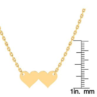 14K Yellow Gold Over Sterling Silver Double Heart Initial Necklace With Free Custom Engraving, 18 Inches