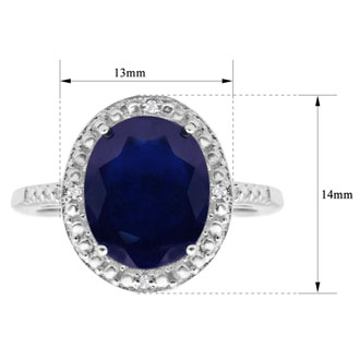 Incredible Large 4 Carat Oval Shape Sapphire and Halo Diamond Ring In Sterling Silver