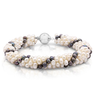 Freshwater Cultured White and Peacock Pearl Cluster Bracelet With 925-Sterling Silver Clasp, 7 Inches