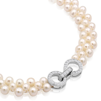 Freshwater Cultured Pearl Three Row Necklace With 925-Sterling Silver Crystal Clasp, 18 Inches