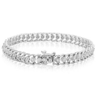 1 Carat Diamond Ropework Tennis Bracelet In Platinum Overlay, 7 Inches
