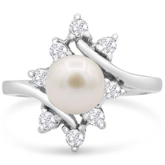 Round Freshwater Cultured Pearl and Halo Diamond Ring In 14 Karat White Gold