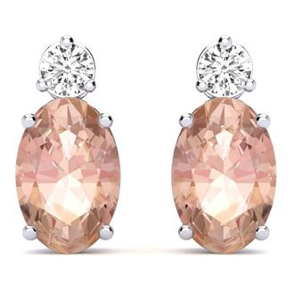 1 2/3 Carat Oval Morganite and Diamond Stud Earrings In 14 Karat White Gold